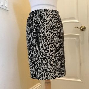 NWT Talbots black/ cream zebra print lined skirt